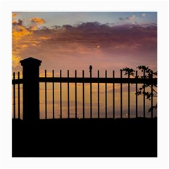 Small Bird Over Fence Backlight Sunset Scene Medium Glasses Cloth (2 Side) by dflcprints