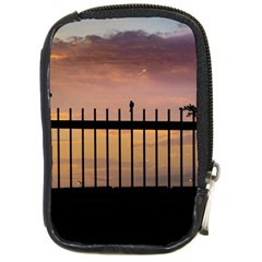 Small Bird Over Fence Backlight Sunset Scene Compact Camera Cases by dflcprints