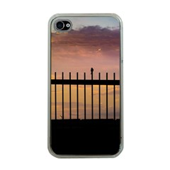 Small Bird Over Fence Backlight Sunset Scene Apple Iphone 4 Case (clear) by dflcprints