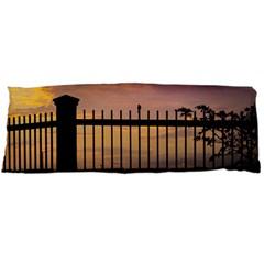 Small Bird Over Fence Backlight Sunset Scene Body Pillow Case (dakimakura) by dflcprints