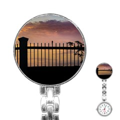 Small Bird Over Fence Backlight Sunset Scene Stainless Steel Nurses Watch by dflcprints