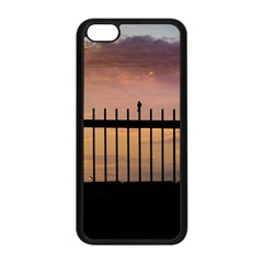 Small Bird Over Fence Backlight Sunset Scene Apple Iphone 5c Seamless Case (black) by dflcprints