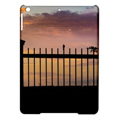 Small Bird Over Fence Backlight Sunset Scene Ipad Air Hardshell Cases by dflcprints
