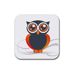 Owl Logo Rubber Square Coaster (4 Pack)  by BangZart
