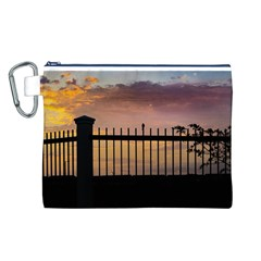 Small Bird Over Fence Backlight Sunset Scene Canvas Cosmetic Bag (l) by dflcprints