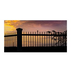 Small Bird Over Fence Backlight Sunset Scene Satin Wrap by dflcprints