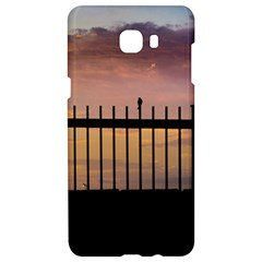 Small Bird Over Fence Backlight Sunset Scene Samsung C9 Pro Hardshell Case  by dflcprints