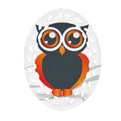 Owl Logo Oval Filigree Ornament (two Sides) by BangZart
