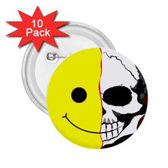 Skull Behind Your Smile 2 25  Buttons (10 Pack)  by BangZart