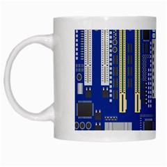 Classic Blue Computer Mainboard White Mugs by BangZart