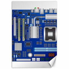 Classic Blue Computer Mainboard Canvas 20  X 30   by BangZart