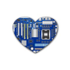 Classic Blue Computer Mainboard Rubber Coaster (heart)  by BangZart