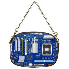 Classic Blue Computer Mainboard Chain Purses (one Side)  by BangZart