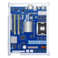 Classic Blue Computer Mainboard Apple Ipad 2 Case (white) by BangZart