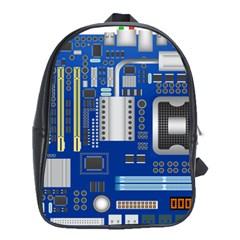 Classic Blue Computer Mainboard School Bags (xl)  by BangZart