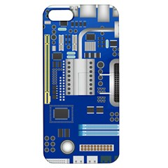 Classic Blue Computer Mainboard Apple Iphone 5 Hardshell Case With Stand by BangZart