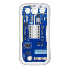 Classic Blue Computer Mainboard Samsung Galaxy S3 Back Case (white) by BangZart