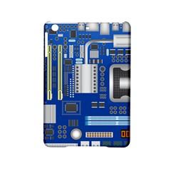Classic Blue Computer Mainboard Ipad Mini 2 Hardshell Cases by BangZart