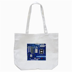 Classic Blue Computer Mainboard Tote Bag (white) by BangZart