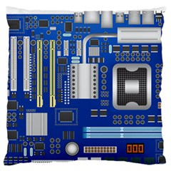 Classic Blue Computer Mainboard Large Flano Cushion Case (two Sides) by BangZart