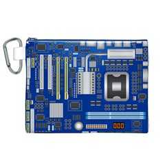 Classic Blue Computer Mainboard Canvas Cosmetic Bag (xl) by BangZart