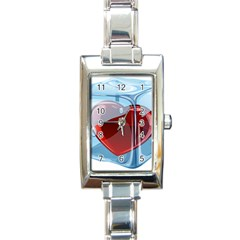 Heart In Ice Cube Rectangle Italian Charm Watch by BangZart