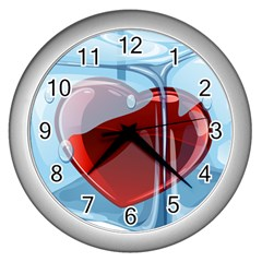 Heart In Ice Cube Wall Clocks (silver)  by BangZart