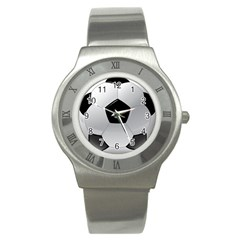 Soccer Ball Stainless Steel Watch by BangZart