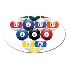 Racked Billiard Pool Balls Oval Magnet by BangZart