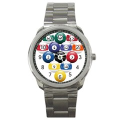 Racked Billiard Pool Balls Sport Metal Watch by BangZart
