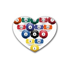 Racked Billiard Pool Balls Rubber Coaster (heart)  by BangZart