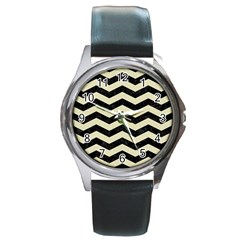 Chevron3 Black Marble & Beige Linen Round Metal Watch by trendistuff