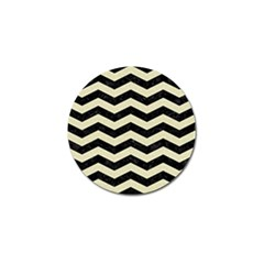 Chevron3 Black Marble & Beige Linen Golf Ball Marker by trendistuff