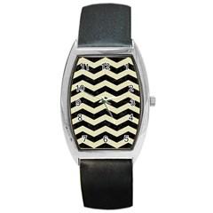 Chevron3 Black Marble & Beige Linen Barrel Style Metal Watch by trendistuff