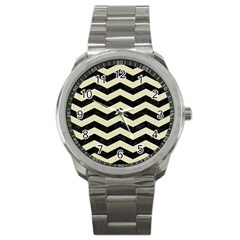 Chevron3 Black Marble & Beige Linen Sport Metal Watch by trendistuff