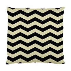 Chevron3 Black Marble & Beige Linen Standard Cushion Case (two Sides) by trendistuff