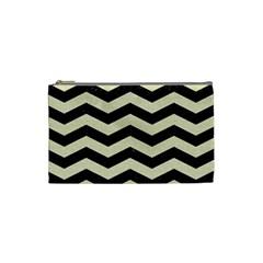 Chevron3 Black Marble & Beige Linen Cosmetic Bag (small)  by trendistuff