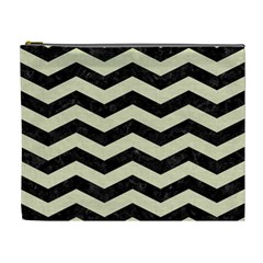 Chevron3 Black Marble & Beige Linen Cosmetic Bag (xl) by trendistuff