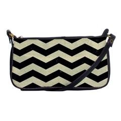 Chevron3 Black Marble & Beige Linen Shoulder Clutch Bags by trendistuff