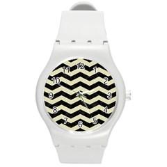 Chevron3 Black Marble & Beige Linen Round Plastic Sport Watch (m) by trendistuff