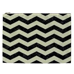 Chevron3 Black Marble & Beige Linen Cosmetic Bag (xxl)  by trendistuff