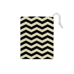 Chevron3 Black Marble & Beige Linen Drawstring Pouches (small)  by trendistuff