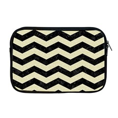 Chevron3 Black Marble & Beige Linen Apple Macbook Pro 17  Zipper Case by trendistuff