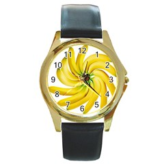 Bananas Decoration Round Gold Metal Watch by BangZart