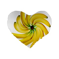 Bananas Decoration Standard 16  Premium Flano Heart Shape Cushions by BangZart