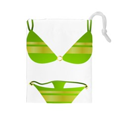 Green Swimsuit Drawstring Pouches (large)  by BangZart