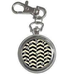 Chevron2 Black Marble & Beige Linen Key Chain Watches by trendistuff