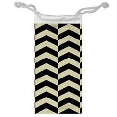 Chevron2 Black Marble & Beige Linen Jewelry Bag by trendistuff