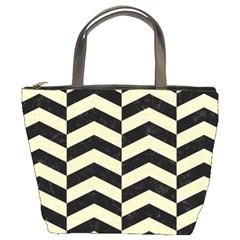 Chevron2 Black Marble & Beige Linen Bucket Bags by trendistuff