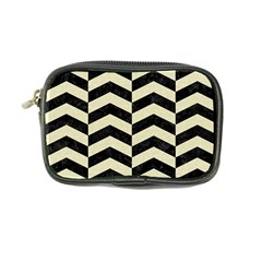 Chevron2 Black Marble & Beige Linen Coin Purse by trendistuff